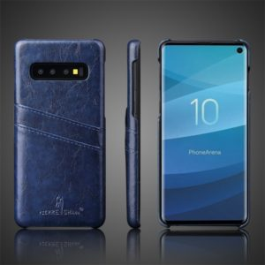 Fierre Shann Retro Oil Wax Texture PU Leather Case for Galaxy S10 Plus, with Card Slots (Blue)