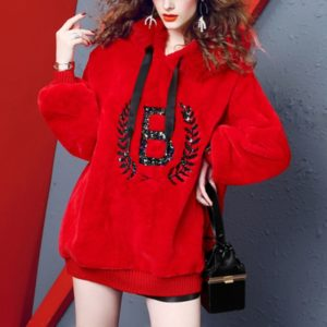 Rabbit Fur Beaded Fashion Loose Thin Thick Sweatshirt (Color:Red Size:One Size)