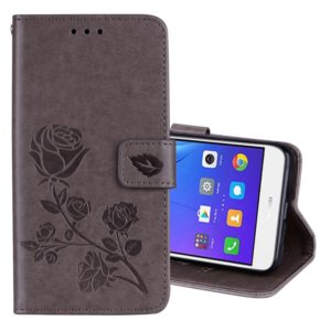 For Huawei Y3 2017 Rose embossed Texture Horizontal Flip Environmental PU Leather Case with Holder & Card Slots & Wallet(Grey)