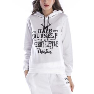 Hooded Long Sleeve Casual Loose Sweatshirt (Color:White Size:XXL)