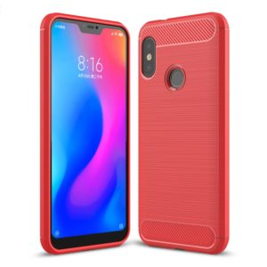 Brushed Texture Carbon Fiber Shockproof TPU Case for Xiaomi Redmi 6 Pro / Mi A2 Lite(Red)