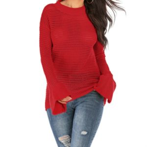 Women Round Neck Hollow Trumpet Sleeve Sweater, Size: M(Red)