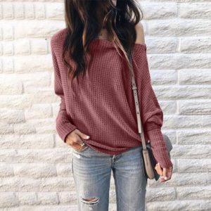 Long Sleeve Loose Printed One-shoulder Knit Shirt (Color:Pink Size:XL)