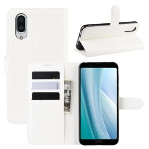For Sharp Aquos Sense 3 Plus Litchi Texture Horizontal Flip Leather Case with Wallet & Holder & Card Slots(White)