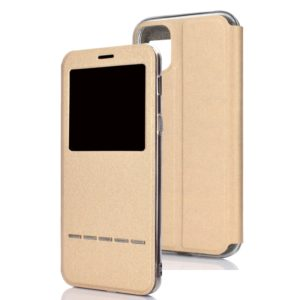 For iPhone 11 Pro Matte Texture Horizontal Flip Bracket Mobile Phone Holster Window with Caller ID and Metal Button Slide To Unlock(Gold)