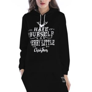 Hooded Long Sleeve Casual Loose Sweatshirt (Color:Black Size:S)