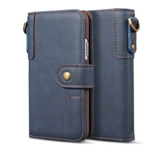 For iPhone 6 Cowhide Texture Horizontal Flip Leather Case with Holder & Card Slots & Wallet & Lanyard(Blue)