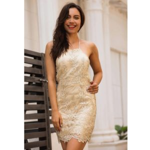 Lace Embroidered Dress Halter Sexy Backless Thin Dress (Color:Gold Size:M)