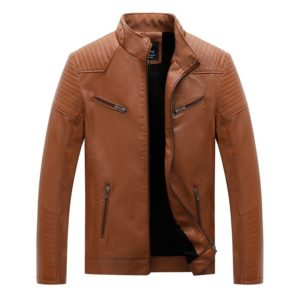 Men Casual Non-iron Treatment Stand Collar PU Leather Jacket (Color:Khaki Size:XL)