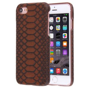 For iPhone 8 & 7 Snakeskin Texture Paste Skin PC Protective Case(Coffee)