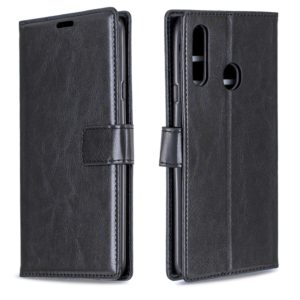 For Galaxy A20S Crazy Horse Texture Horizontal Flip Leather Case with Holder & Card Slots & Wallet & Photo Frame(Black)