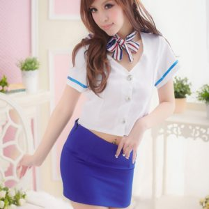 FunAdd Women Blue and White Flight Attendant Cosplay Uniform Temptation Sexy Enticing Lingeries, Free Size (FunAdd)