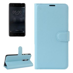 For Nokia 5 Litchi Texture Horizontal Flip Leather Case with Holder & Card Slots & Wallet(Blue)