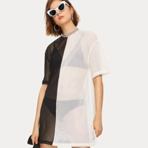 Mesh Stitching Short-sleeved Blouse Dress (Color:Black White Size:S)