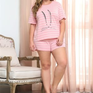 Animal Print Stripe Short Sleeve Short Pants Set Round Collar Large Size Women Home Wear (Color:Pink Size:XXXL)
