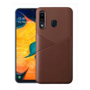 Ultra-thin Shockproof Soft TPU + Leather Case for Galaxy A40 (Brown)