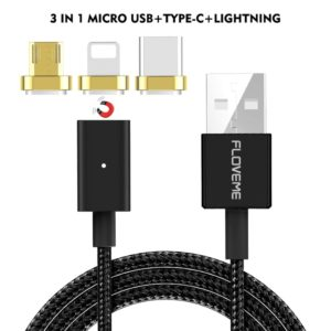 FLOVEME 3 in 1 2.4A 1m Nylon Weave Style 8 Pin + Micro USB + Type-C Magnetic Data Sync Charging Cable, For iPhone/iPad, Samsung Android Smartphone(Black) (FLOVEME)