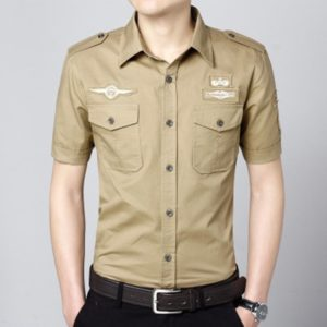 Fashion Casual Military Solid Color Pocket Short Sleeve Loose Turn-down Collar Shirt, Size:M(Khaki)
