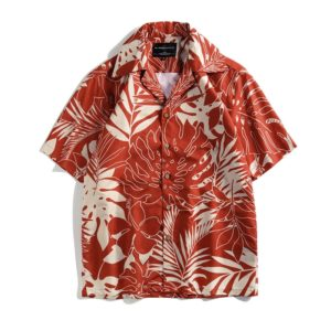 Summer Tropical Vacation Casual Leaf Print Short Sleeve Beach Shirt, Size: L(As Show)