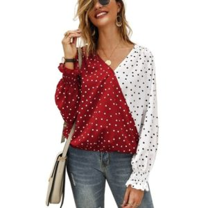 Dot Long-sleeved Shirt Casual Shirt (Color:Red Size:L)