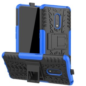 For OPPO Realme X Tire Texture Shockproof TPU+PC Protective Case with Holder(Blue)