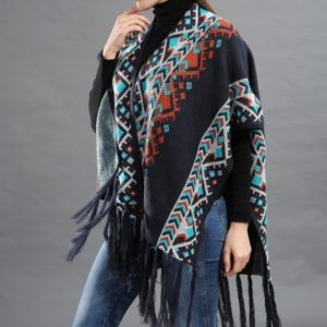 Pattern Shawl Fringed Cape Shawl Cotton Warm Sweater(Color:Navy Blue Size:One Size)
