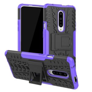 Tire Texture TPU+PC Shockproof Phone Case for OnePlus 7, with Holder (Purple)