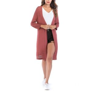 Length Knit Cardigan Shawl Sweater (Color:Red Size:L)
