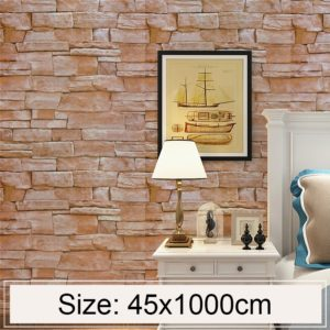 Slate Creative 3D Stone Brick Decoration Wallpaper Stickers Bedroom Living Room Wall Waterproof Wallpaper Roll, Size: 45 x 1000cm