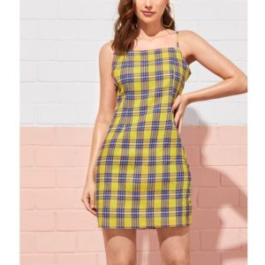 Plaid Sling Bag Hip Sexy Slim Dress (Color:Yellow Size:S)