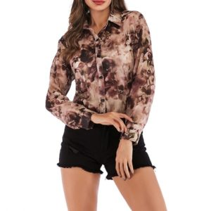 Printed Chiffon Lapels Single-breasted Womens Shirt (Color:Purple Size:L)