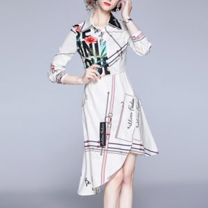 Printing Thin Long-sleeved Irregular Dress (Color:White Size:XL)