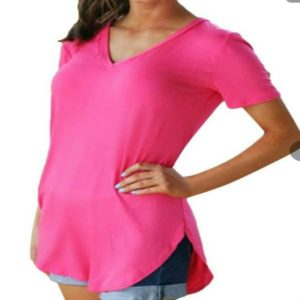 V-neck Short-sleeved Irregular Pocket T-shirt, Size: XXXL(Dark Pink )