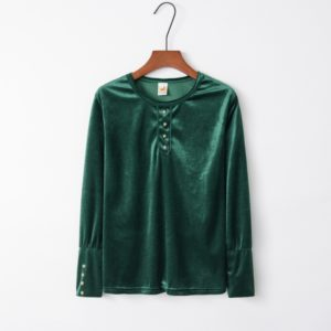 Velvet Button Women Sweatershirt (Color:Green Size:L)