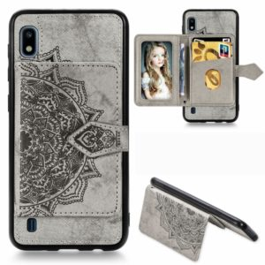 For Galaxy A10 Mandala Embossed Magnetic Cloth PU + TPU + PC Case with Holder & Card Slots & Wallet & Photo Frame & Strap(Gray)