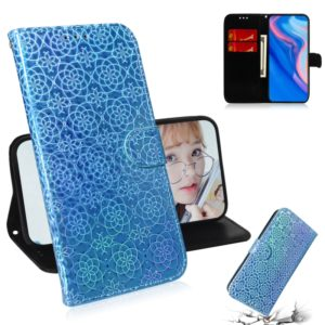 For Huawei P Smart Z/Y9 Prime 2019 Solid Color Colorful Magnetic Buckle Horizontal Flip PU Leather Case with Holder & Card Slots & Wallet & Lanyard(Blue)