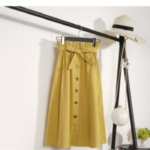 Knee Length Elegant Button High Waist Skirt Female Pleated Skirt, Size:One Size(Yellow)