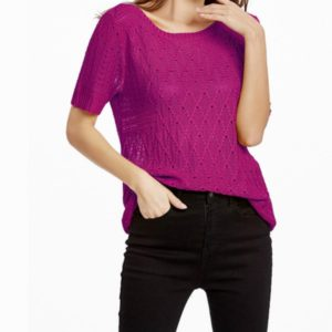 Summer Hollow Hooded Short-sleeved Sweater T-shirt, Size: M(Rose Red)