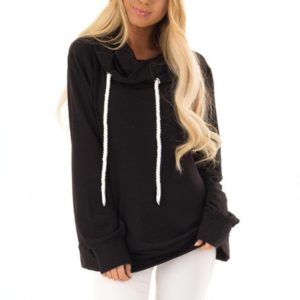 Women Drawstring Hooded Sweatshirt (Color:Black Size:XXXL)