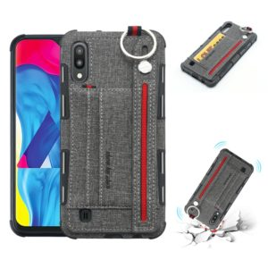 For Galaxy M10 Cloth Texture + TPU Shockproof Protective Case with Metal Ring & Holder & Card Slots & Hanging Strap(Grey)