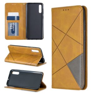 Rhombus Texture Horizontal Flip Magnetic Leather Case with Holder & Card Slots For Galaxy A50(Yellow)