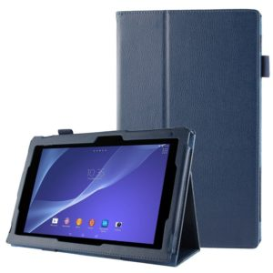 Litchi Texture Leather Case with Holder for Sony Xperia Tablet Z2 10.1(Dark Blue)