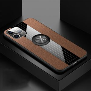 For iPhone 11 Pro Max XINLI Stitching Cloth Textue Shockproof TPU Protective Case with Ring Holder(Brown) (XINLI)