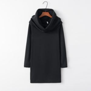 Hooded Hip Long Sleeve Warm Dress (Color:Black Size:M)