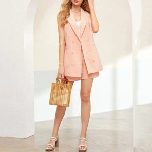 Double-breasted Sleeveless Piece Shorts Suit Jacket Worn With A Belt (Color:Pink Size:S)