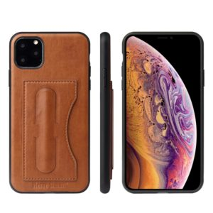 Fierre Shann Full Coverage Protective Leather Case with Holder & Card Slot For iPhone 11(Brown)