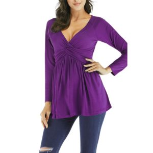 Pleated Loose Long Sleeved T-shirt Shirt, Size: L(Purple)