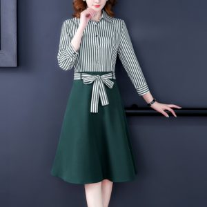 Waist Stitching Striped Shirt Dress, Size:XXL(Dark Green)