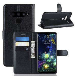 Litchi Texture Horizontal Flip Leather Case for LG V50 ThinQ 5G, with Wallet & Holder & Card Slots (Black)