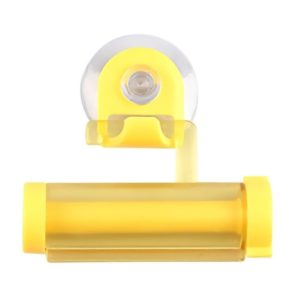 2 Pcs Creative Sucker Hangable Toothpaste Extruder with Sucker &Holder(YELLOW)